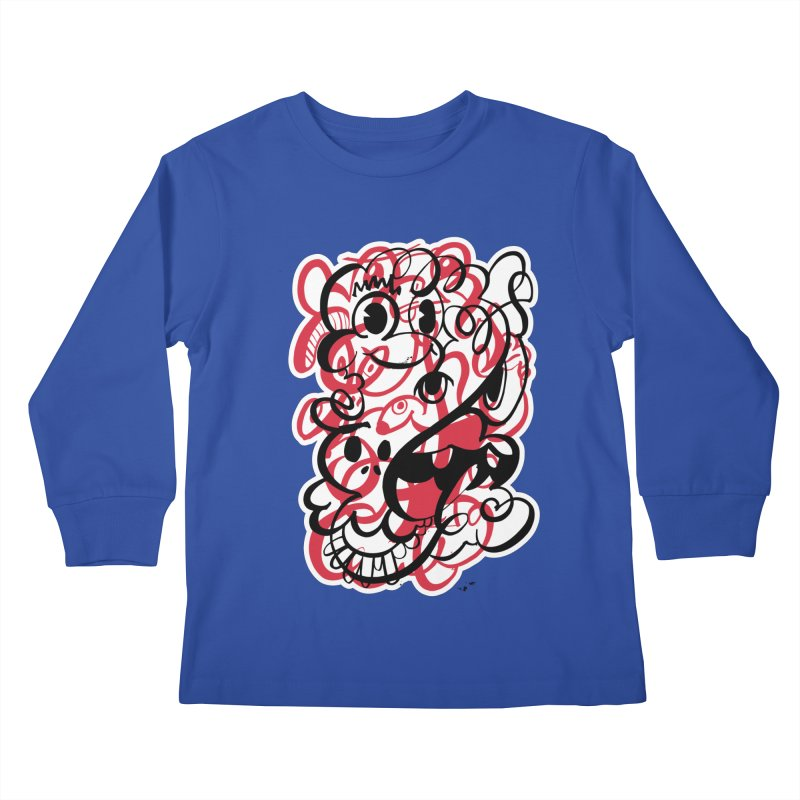 Doodle of the day II – red version Kids Longsleeve T-Shirt by Favati
