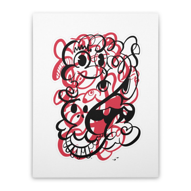 Doodle of the day II – red version Home Stretched Canvas by Favati