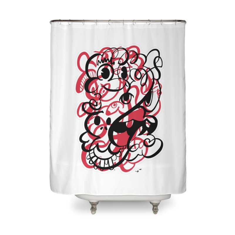 Doodle of the day II – red version Home Shower Curtain by Favati