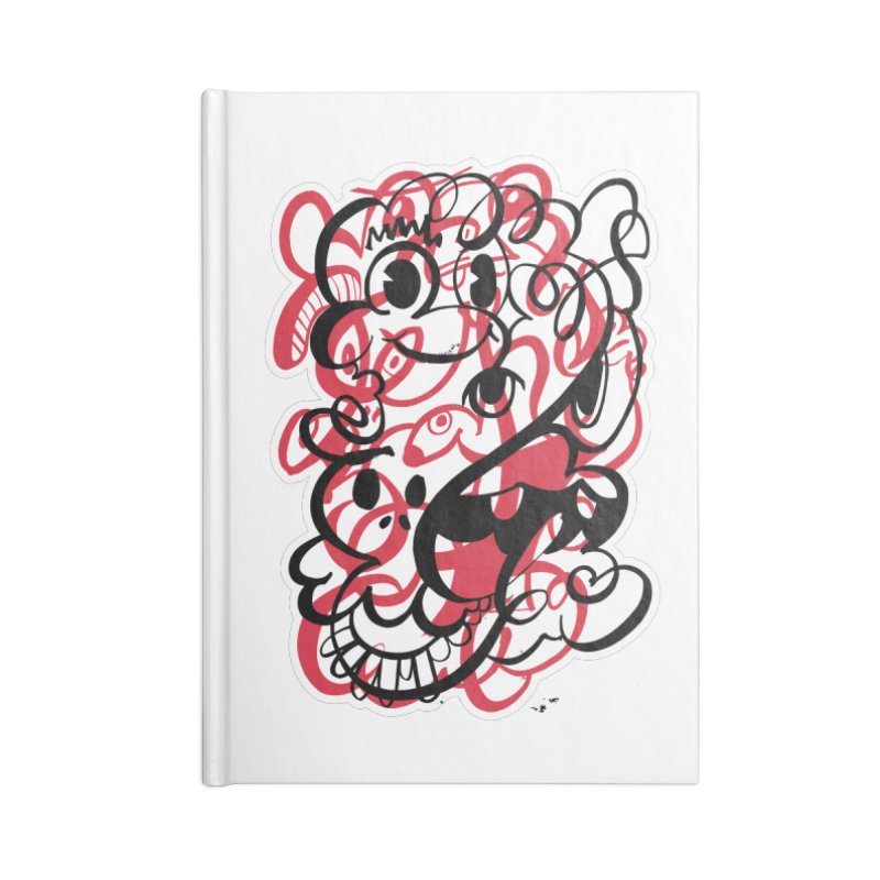 Doodle of the day II – red version Accessories Lined Journal Notebook by Favati
