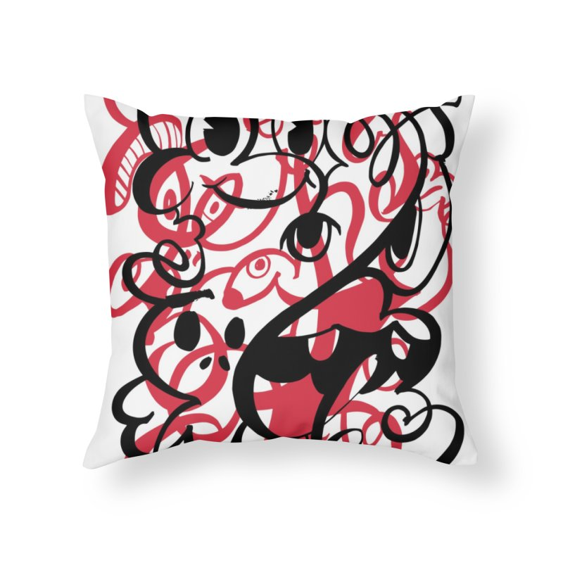 Doodle of the day II – red version Home Throw Pillow by Favati