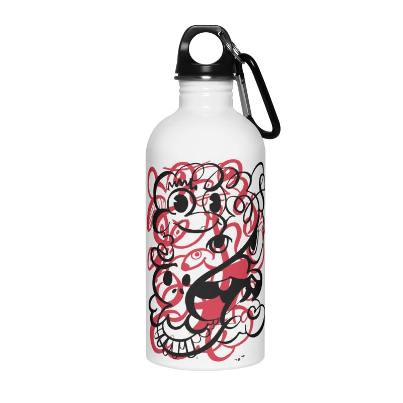 Doodle of the day II – red version Accessories Water Bottle by Favati