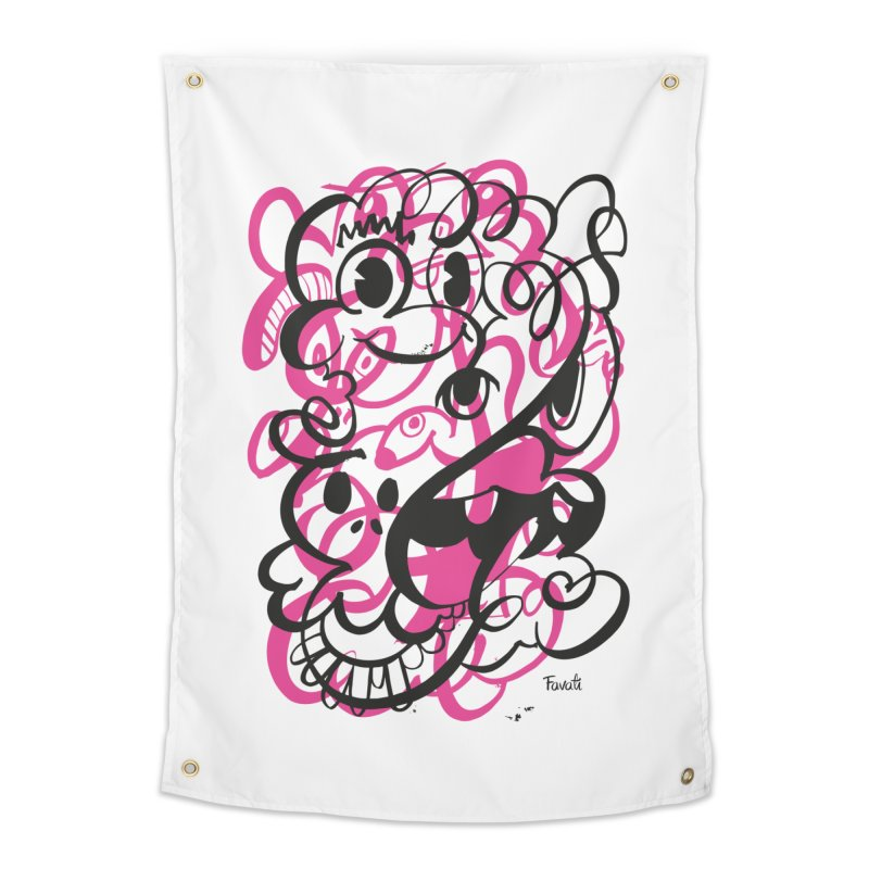 Doodle of the day II – pink version Home Tapestry by Favati