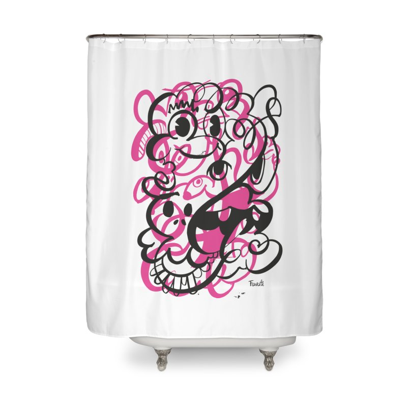 Doodle of the day II – pink version Home Shower Curtain by Favati