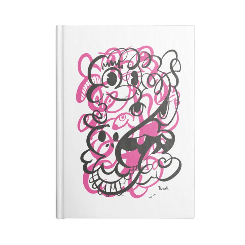 Doodle of the day II – pink version Accessories Lined Journal Notebook by Favati