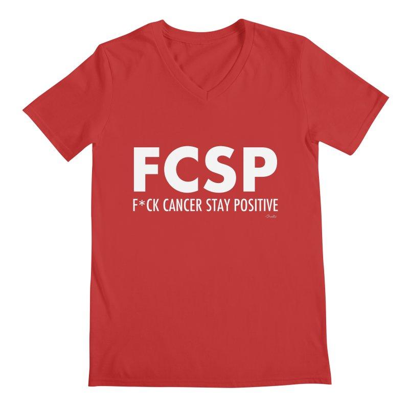 F* Cancer (White Font) Men's V-Neck by The FCSP Foundation Shop