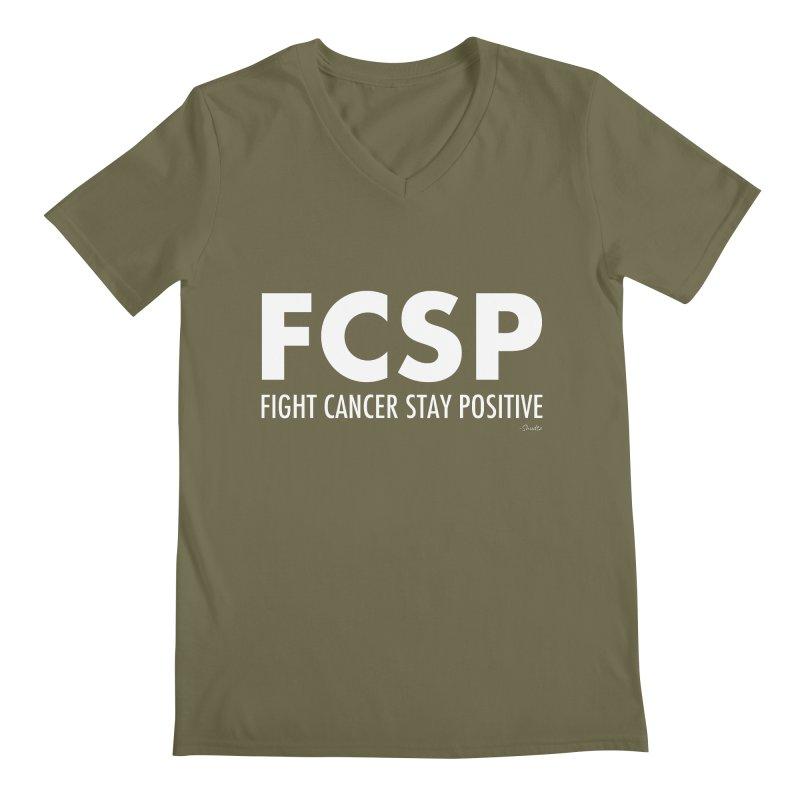Fight Cancer (White Font) Men's V-Neck by The FCSP Foundation Shop