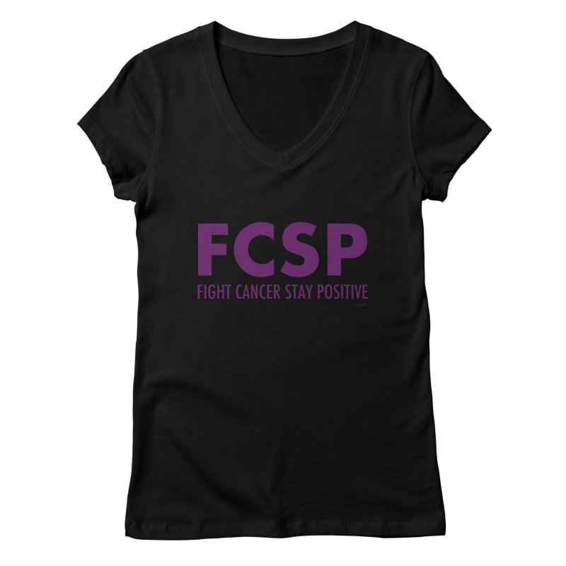Fight Cancer (Purple Font) Women's V-Neck by The FCSP Foundation Shop