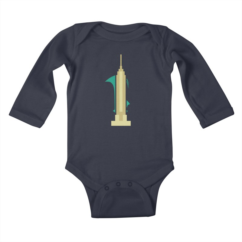 Empire States Kids Baby Longsleeve Bodysuit by fdegrossi's Artist Shop