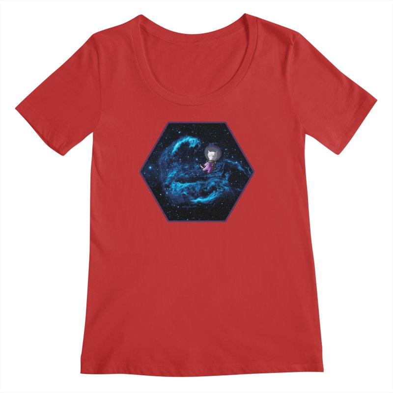 Buzz Nyaldrin the Catstronaut Women's Regular Scoop Neck by Feeping Creatures Artist Shop