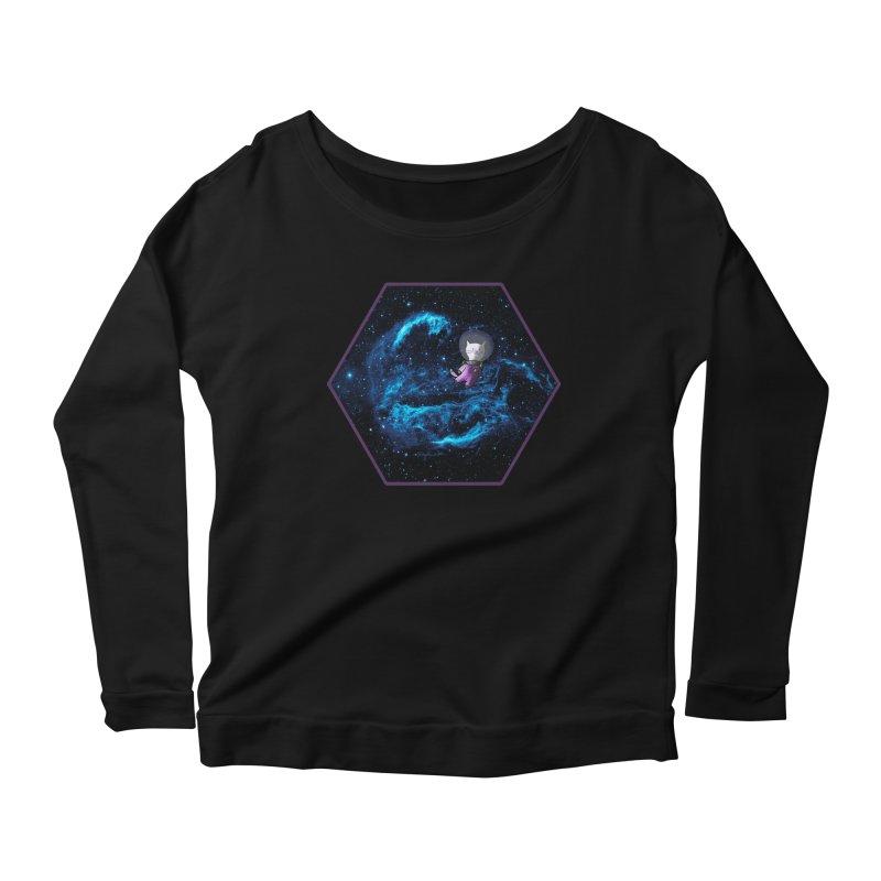 Buzz Nyaldrin the Catstronaut Women's Longsleeve Scoopneck  by Feeping Creatures Artist Shop