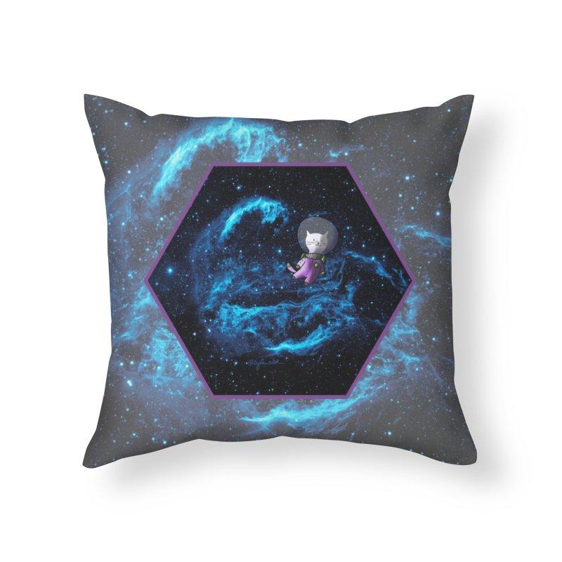 Buzz Nyaldrin the Catstronaut Home Throw Pillow by Feeping Creatures Artist Shop