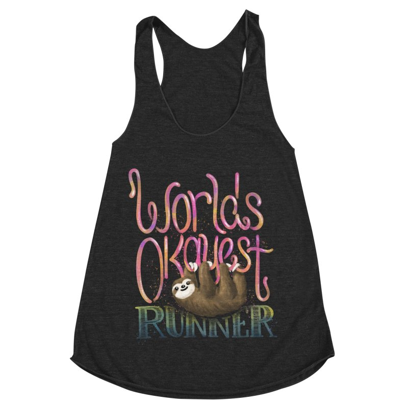 Worlds Okayest Runner (Sloth) Women's Racerback Triblend Tank by Fees Tees