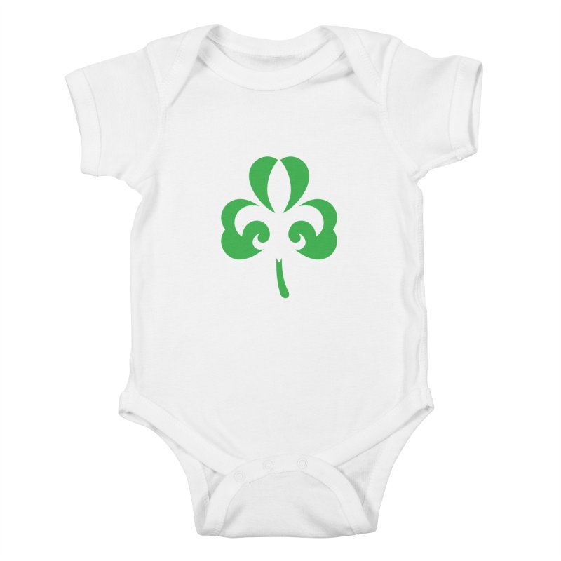 Shamrock De Lis - Green Kids Baby Bodysuit by Fees Tees