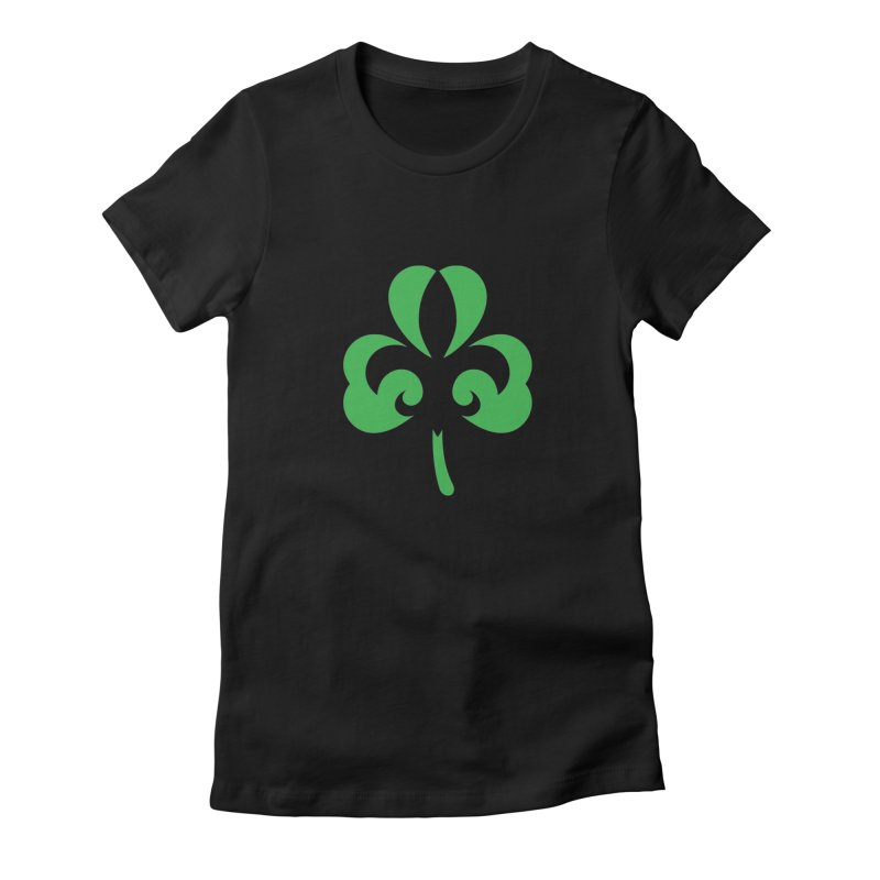Shamrock De Lis - Green in Women's Fitted T-Shirt Black by Fees Tees