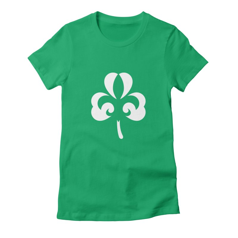 Shamrock De Lis - White Women's Fitted T-Shirt by Fees Tees