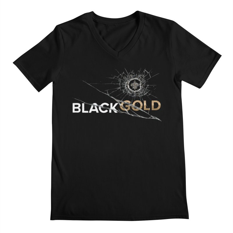 Black Gold Men's Regular V-Neck by Fees Tees