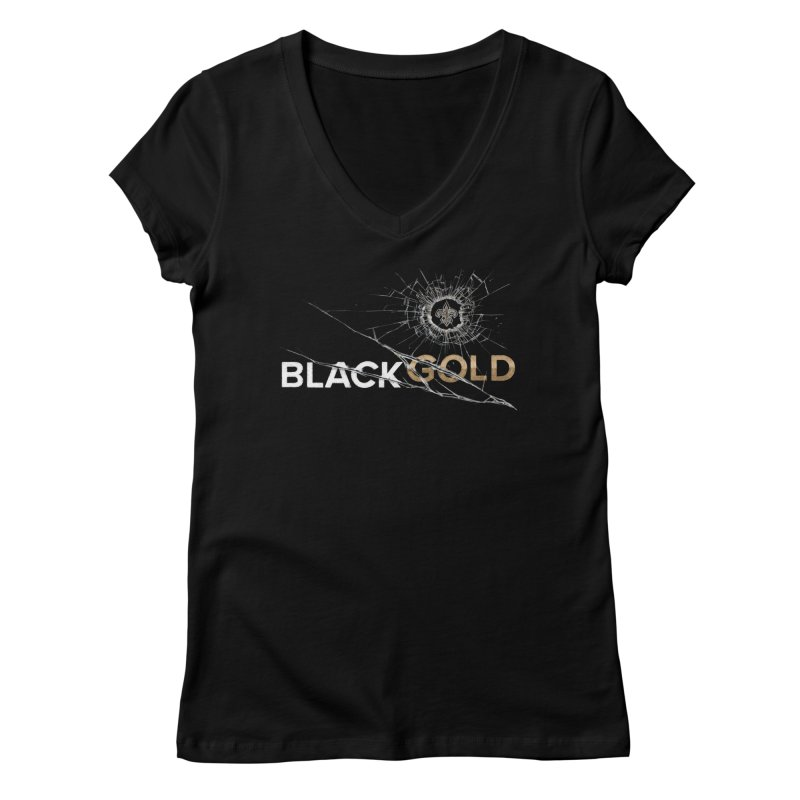 Black Gold Women's Regular V-Neck by Fees Tees