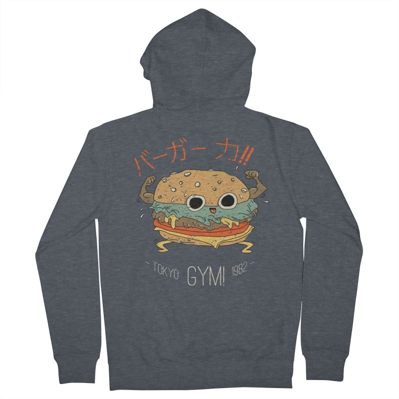 Burger Strength!! Men's French Terry Zip-Up Hoody by Feldir's Weirdness