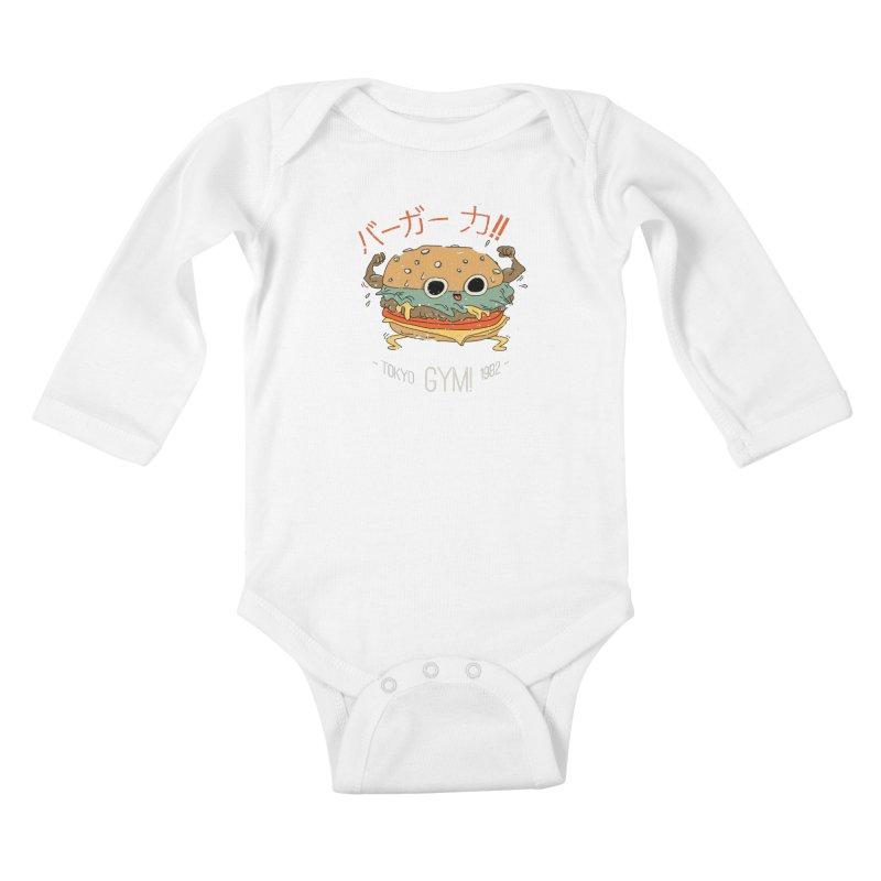 Burger Strength!! Kids Baby Longsleeve Bodysuit by Feldir's Weirdness