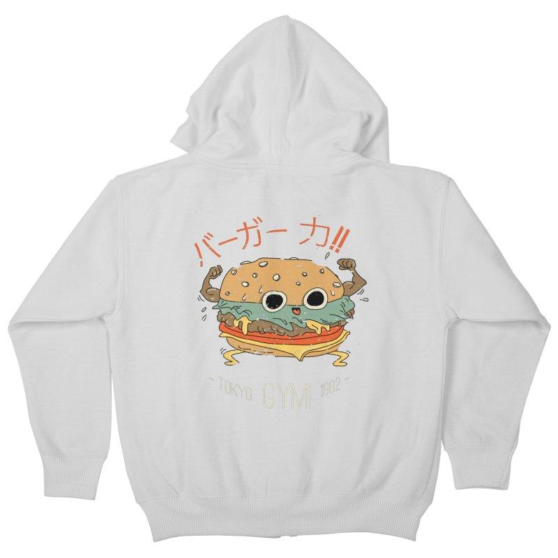 Burger Strength!! Kids Zip-Up Hoody by Feldir's Weirdness