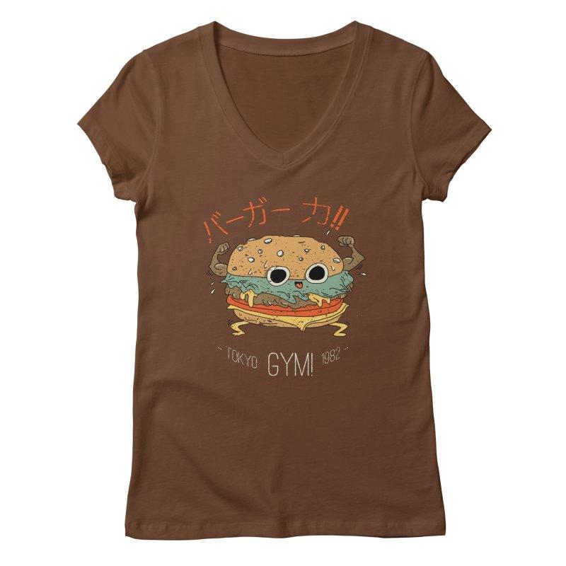 Burger Strength!! Women's Regular V-Neck by Feldir's Weirdness