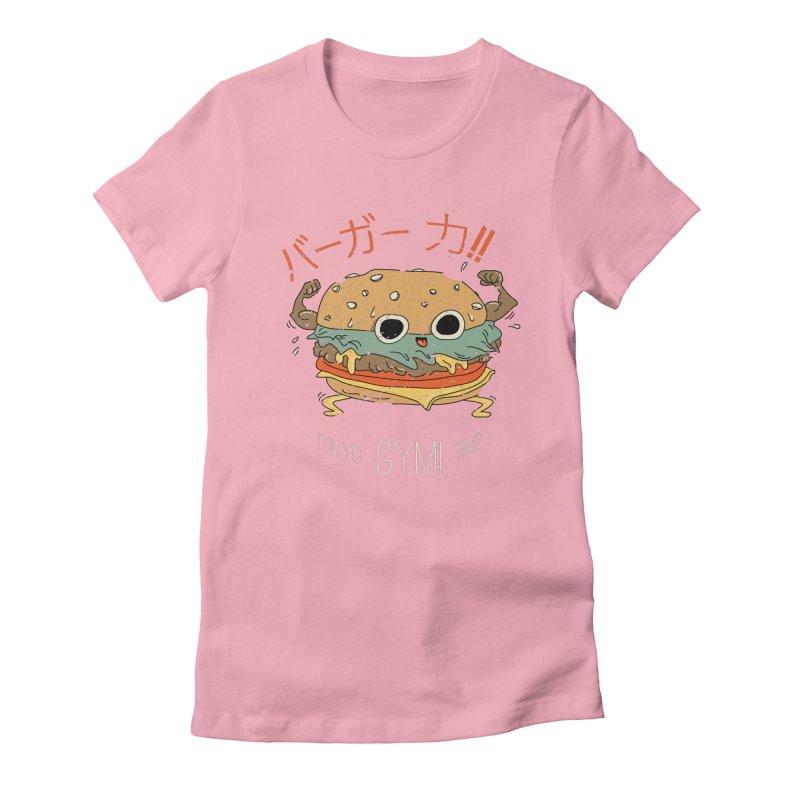 Burger Strength!! Women's Fitted T-Shirt by Feldir's Weirdness