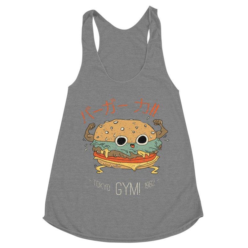 Burger Strength!! Women's Racerback Triblend Tank by Feldir's Weirdness
