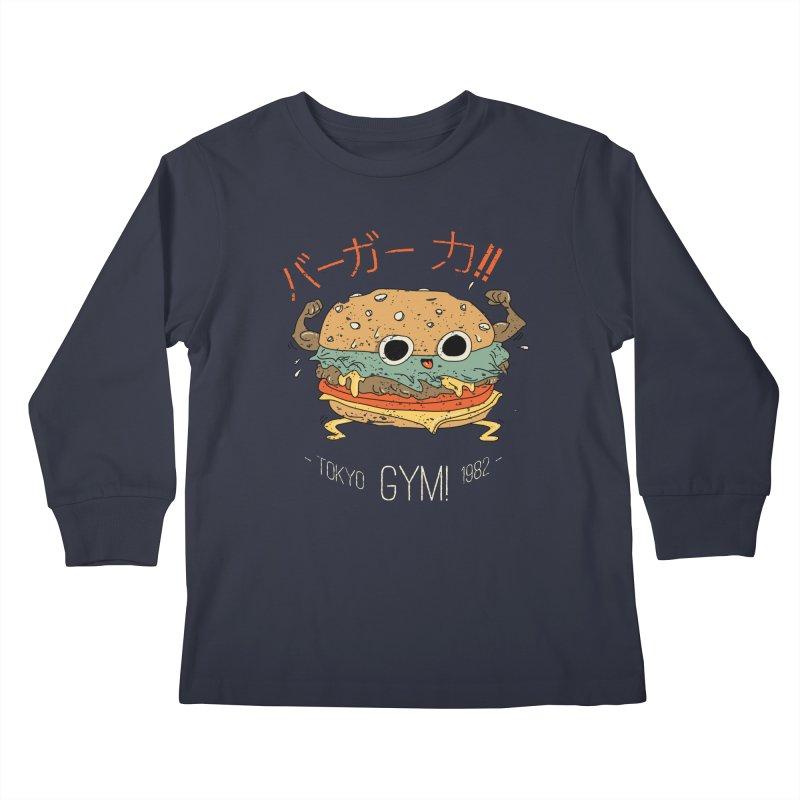 Burger Strength!! Kids Longsleeve T-Shirt by Feldir's Weirdness