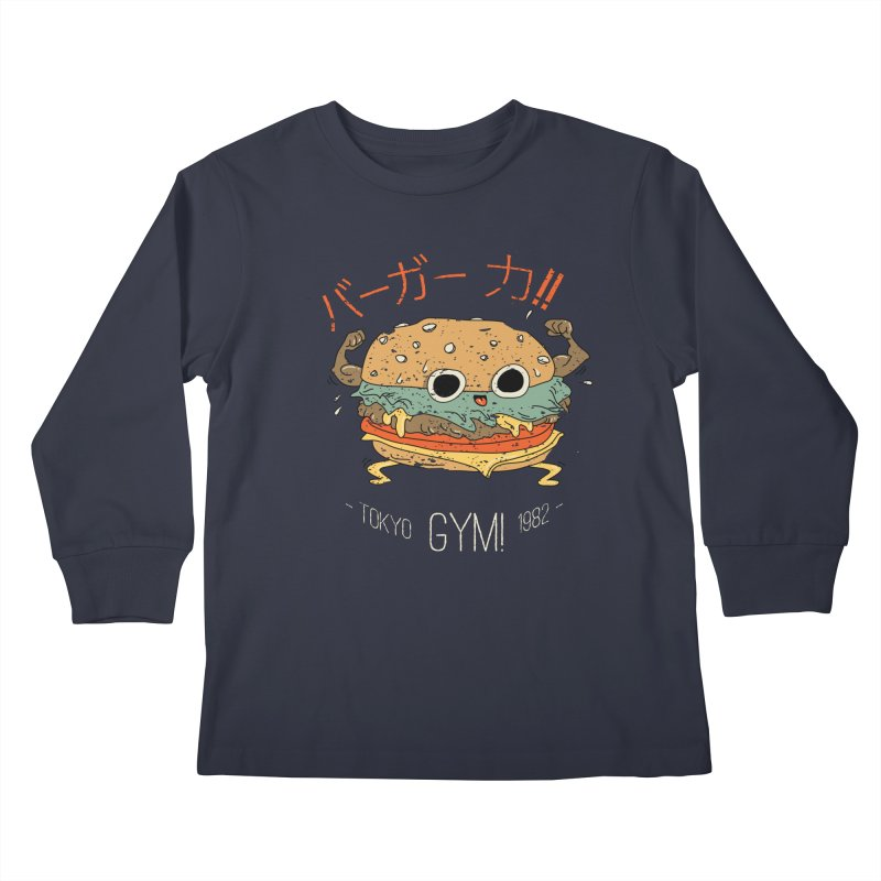 Burger Strength!! Kids Longsleeve T-Shirt by Feldir's Weirdness