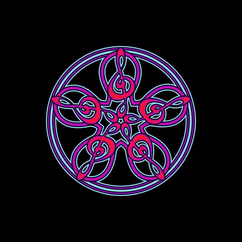 Celtic Clef Mandala (red/violet/blue on black) by Felix Culpa Designs