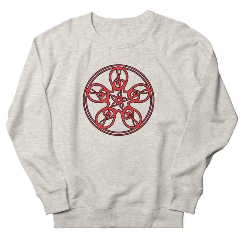 Celtic Clef Mandala (red/black) Men's French Terry Sweatshirt by Felix Culpa Designs
