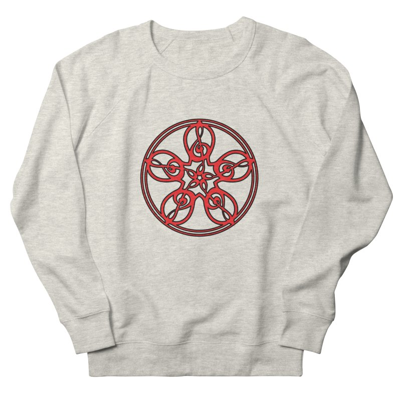 Treble Clef Mandala (red/black) Women's French Terry Sweatshirt by Felix Culpa Designs