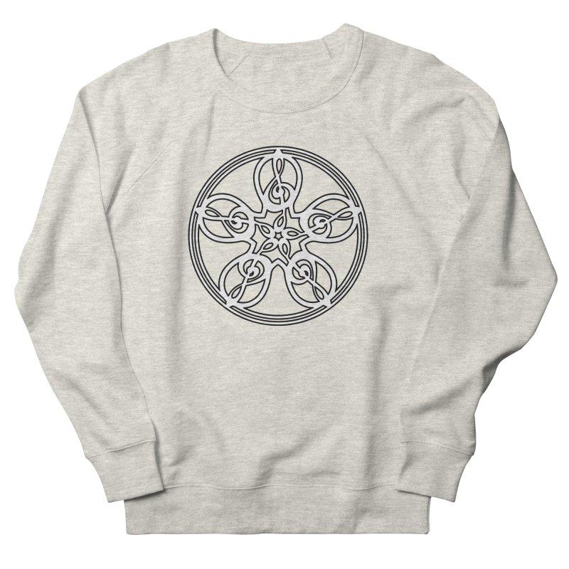Celtic Clef Mandala (white/black) Men's French Terry Sweatshirt by Felix Culpa Designs