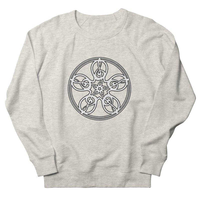 Treble Clef Mandala (white/black) Women's French Terry Sweatshirt by Felix Culpa Designs