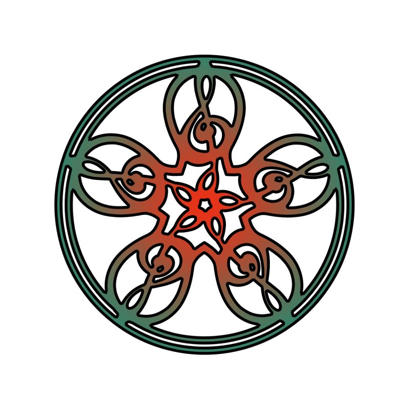 Celtic Clef Mandala (red/green) by Felix Culpa Designs