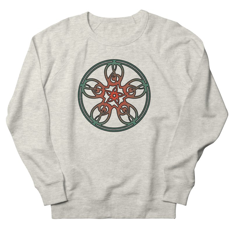 Celtic Clef Mandala (red/green) Women's French Terry Sweatshirt by Felix Culpa Designs