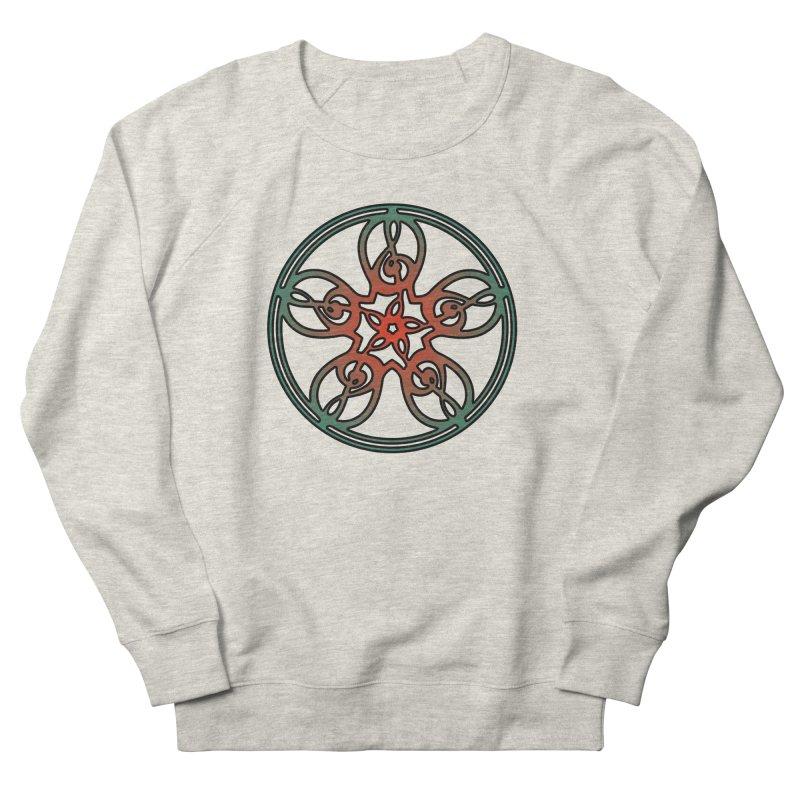 Celtic Clef Mandala (red/green) Men's French Terry Sweatshirt by Felix Culpa Designs