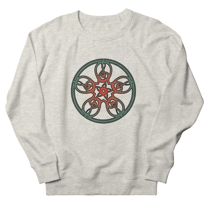 Treble Clef Mandala (red/green) Men's French Terry Sweatshirt by Felix Culpa Designs