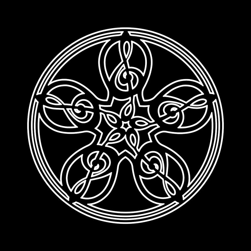 Celtic Clef Mandala (white outline) by Felix Culpa Designs