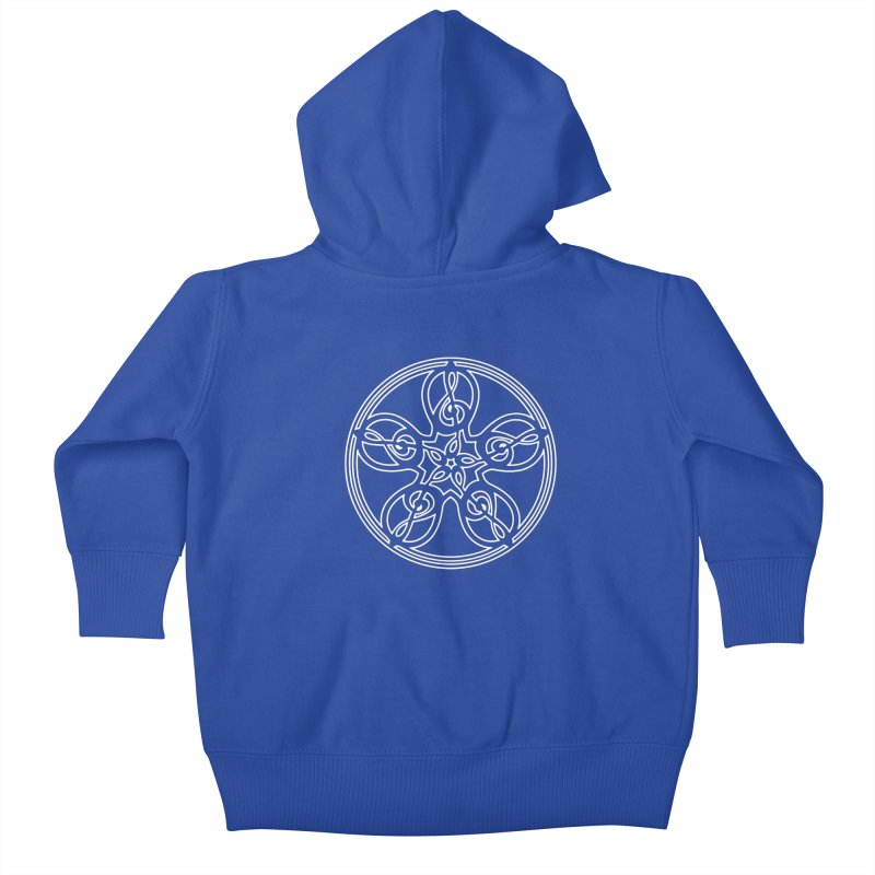 Celtic Clef Mandala (white outline) Kids Baby Zip-Up Hoody by Felix Culpa Designs
