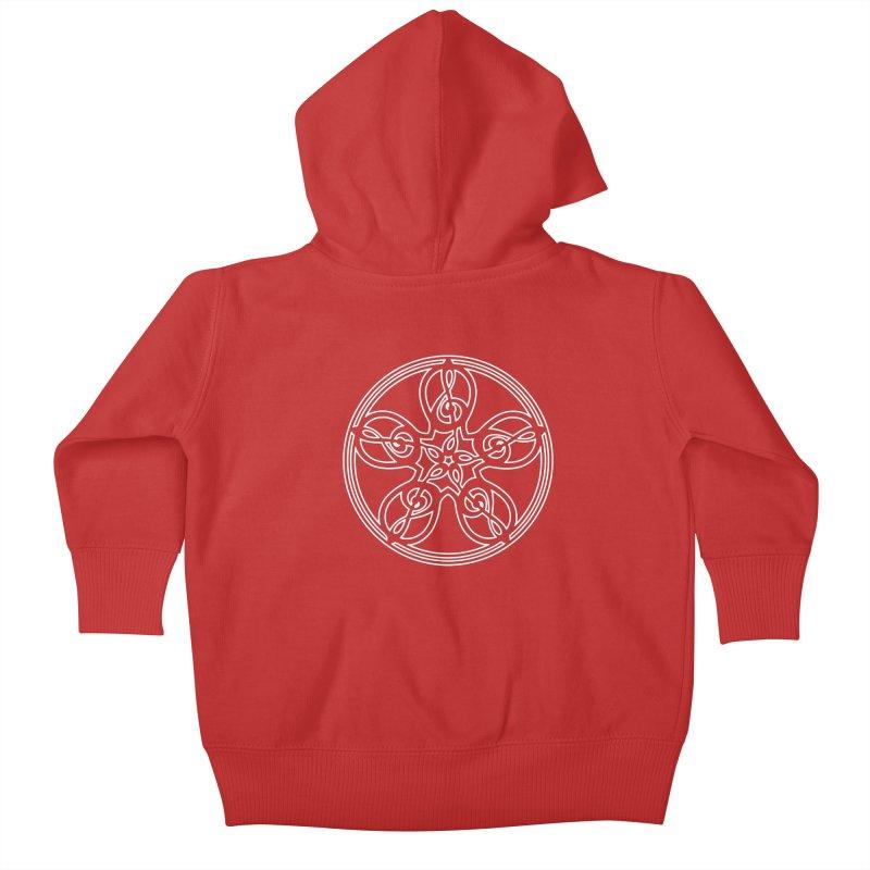 Celtic Clef Mandala (white outline) Kids Baby Zip-Up Hoody by Felix Culpa Designs