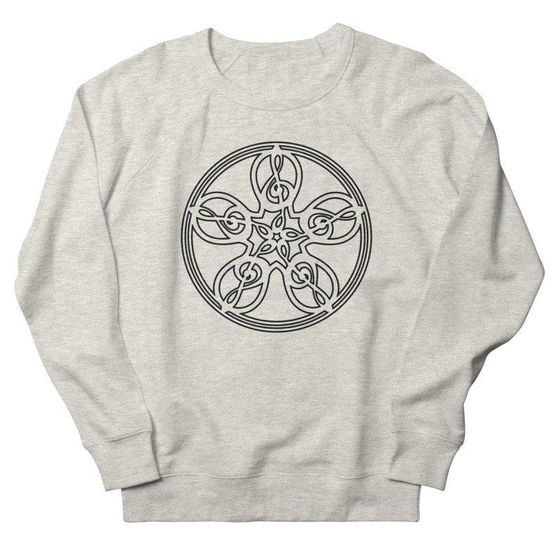 Celtic Clef Mandala (black outline) Men's French Terry Sweatshirt by Felix Culpa Designs