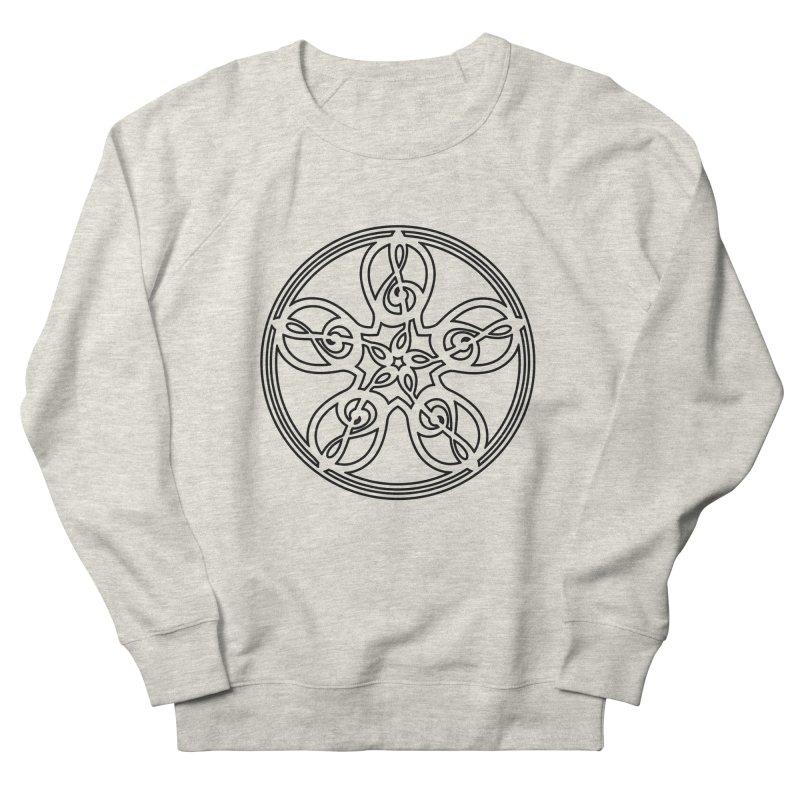 Treble Clef Mandala (black outline) Women's French Terry Sweatshirt by Felix Culpa Designs