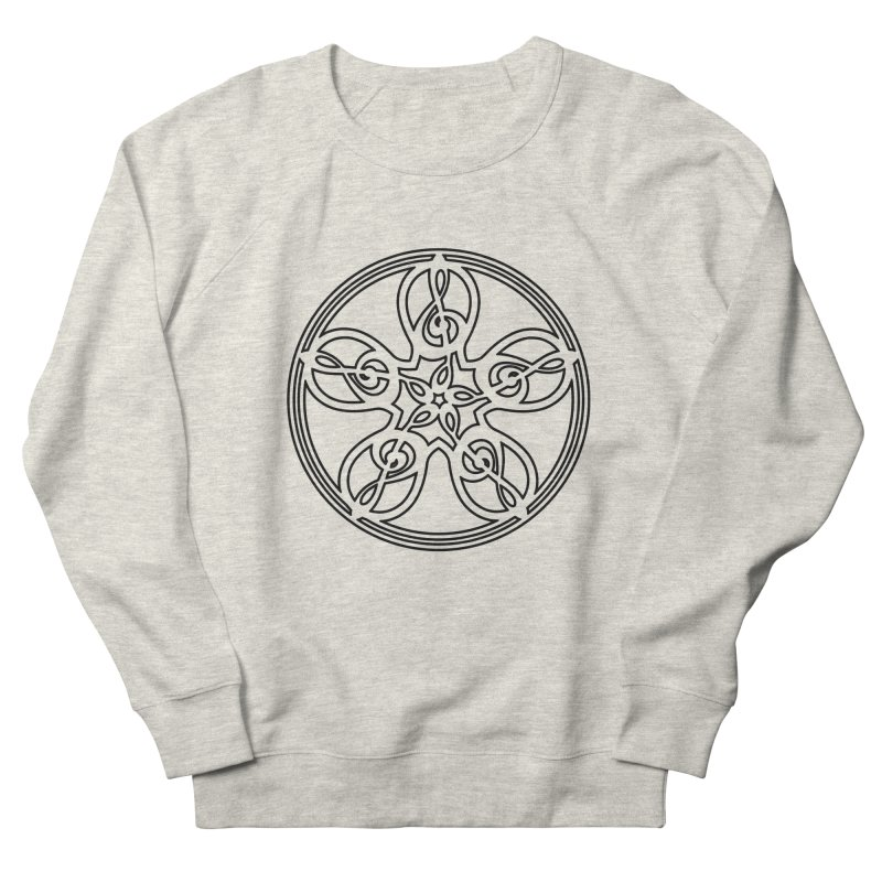 Treble Clef Mandala (black outline) Men's French Terry Sweatshirt by Felix Culpa Designs