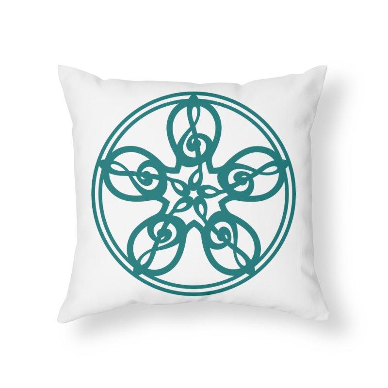 Celtic Clef Mandala (teal) Home Throw Pillow by Felix Culpa Designs