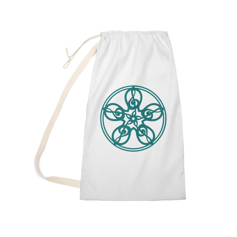 Treble Clef Mandala (teal) Accessories Laundry Bag Bag by Felix Culpa Designs