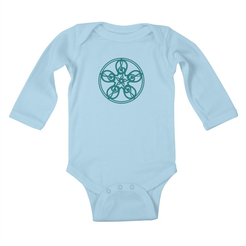 Celtic Clef Mandala (teal) Kids Baby Longsleeve Bodysuit by Felix Culpa Designs