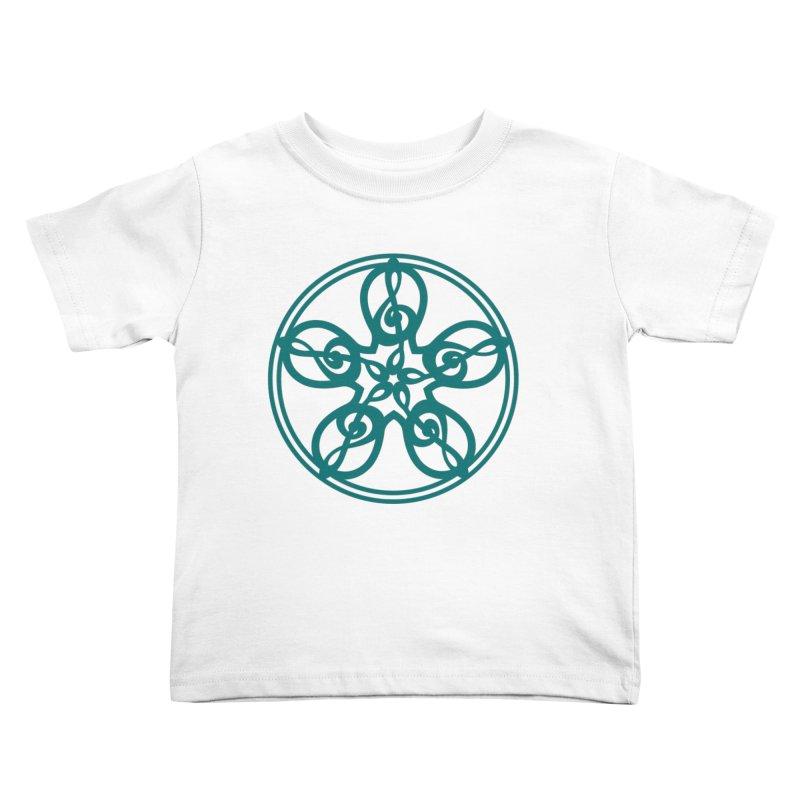 Celtic Clef Mandala (teal) Kids Toddler T-Shirt by Felix Culpa Designs