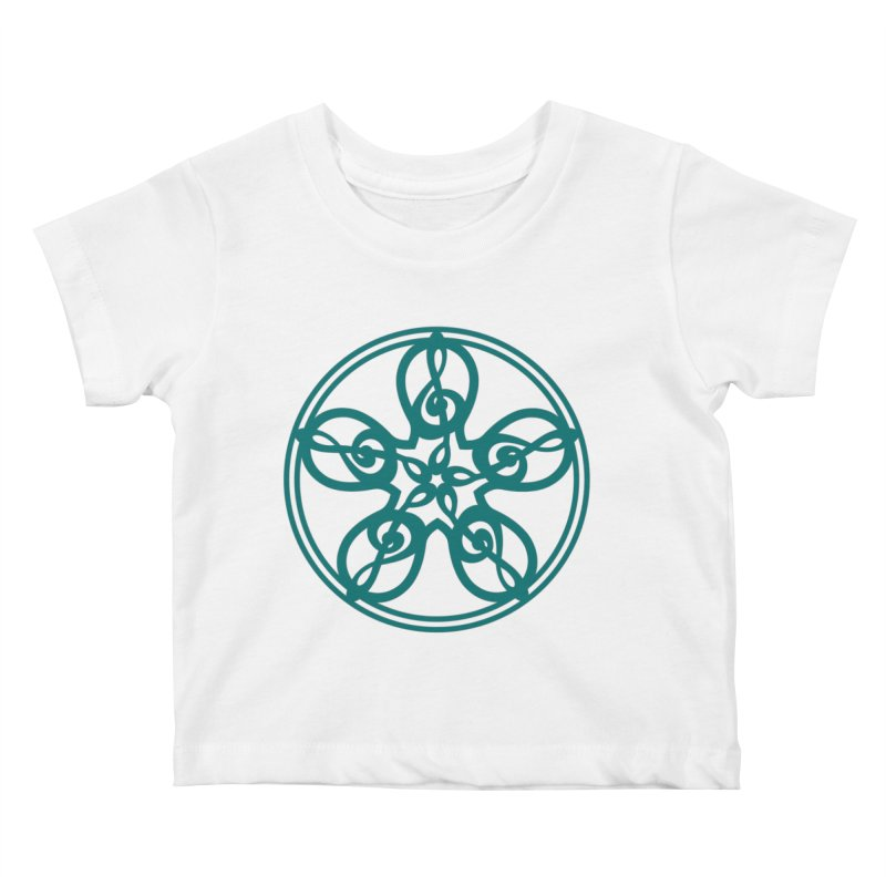 Celtic Clef Mandala (teal) Kids Baby T-Shirt by Felix Culpa Designs